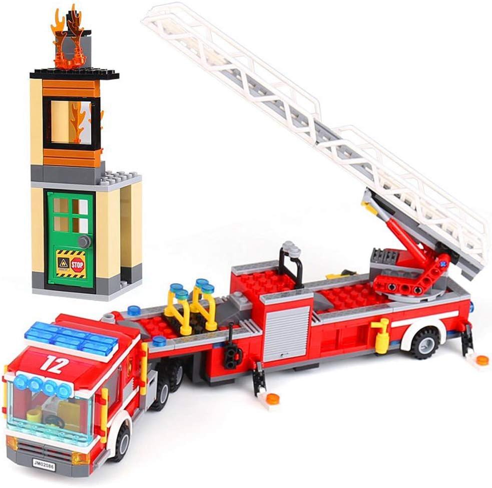 02086 Ladrillos coche de bomberos Bomberos Escalera carro, 421 piezas construcción juguete: Amazon.es: Bebé