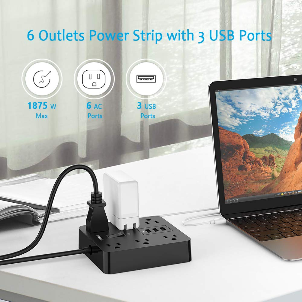 Power Strip with USB Ports, Desktop Charging Station with 3 USB 6 AC Outlet and 15A 4ft Heavy Duty Extension Cord, Overload Protection for Home and Office, 1875W/100~240V AC - Black
