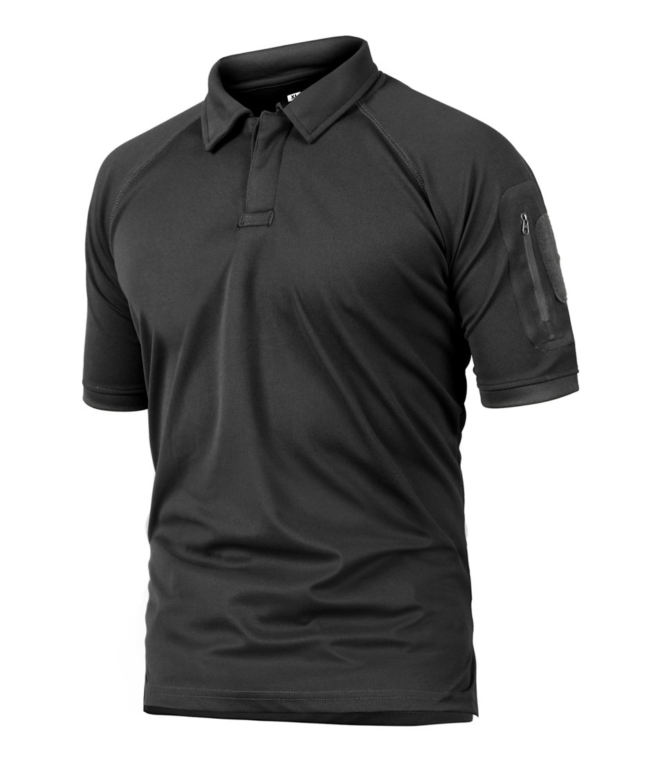 TBMPOY Men's Outdoor Performance Polyester Cool Moisture Wicking Cargo Hunting Polo Shirt(Black,us XXL)