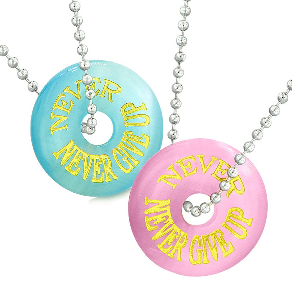 Amulets Will Always Love You Forever Best Friends Love Couples Sky Blue Pink Simulated Cats Eye Necklaces