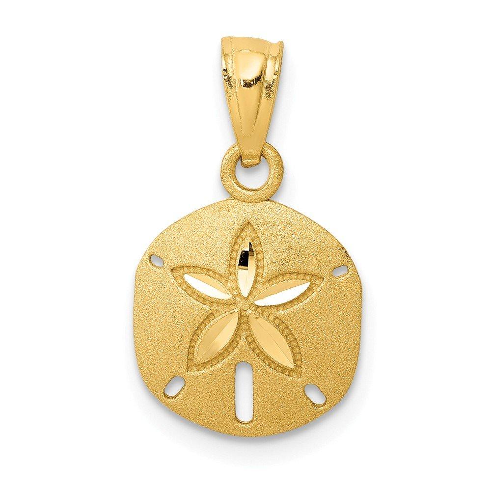 Mia Diamonds 14k Yellow Gold Satin Diamond-cut Sand Dollar Pendant