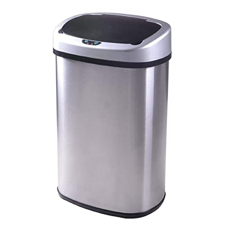 Trash Can 13 Gallon Touch Free Automatic Stainless Steel Kitchen Trash Can Garbage Can Metal Trash Bin With Lid For Kitchen Living Room