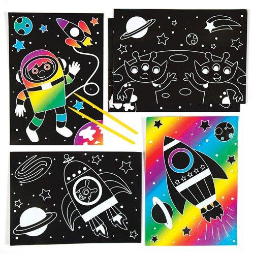 Baker Ross Set educativo per creare immagini scratch art a tema sistema solare per bambini, da creare, personalizzare ed esporre (confezione da 6)