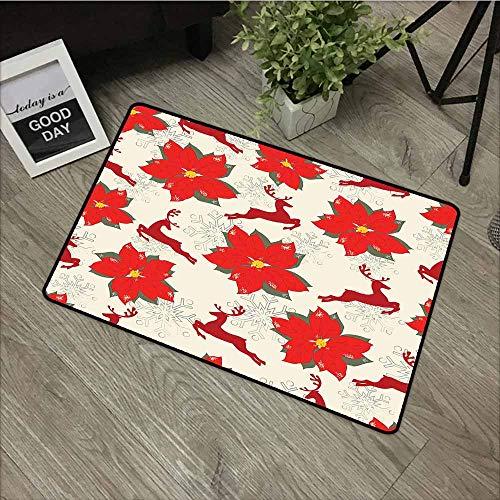 (LOVEEO Custom Doormat,Christmas Vibrant Poinsettia Flowers with Galloping Reindeers and Snowflake Figures,Easy Clean Rugs,35