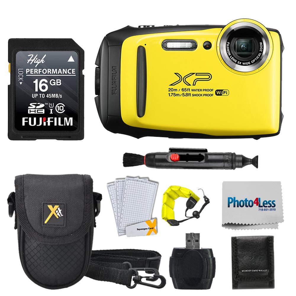 Fujifilm FinePix XP140 Digital Camera Yellow + 16GB SD Card + Case + Floating Strap + Cleaning System +Memory Card Wallet + Screen Protectors - Top Value Bundle by Fujifilm