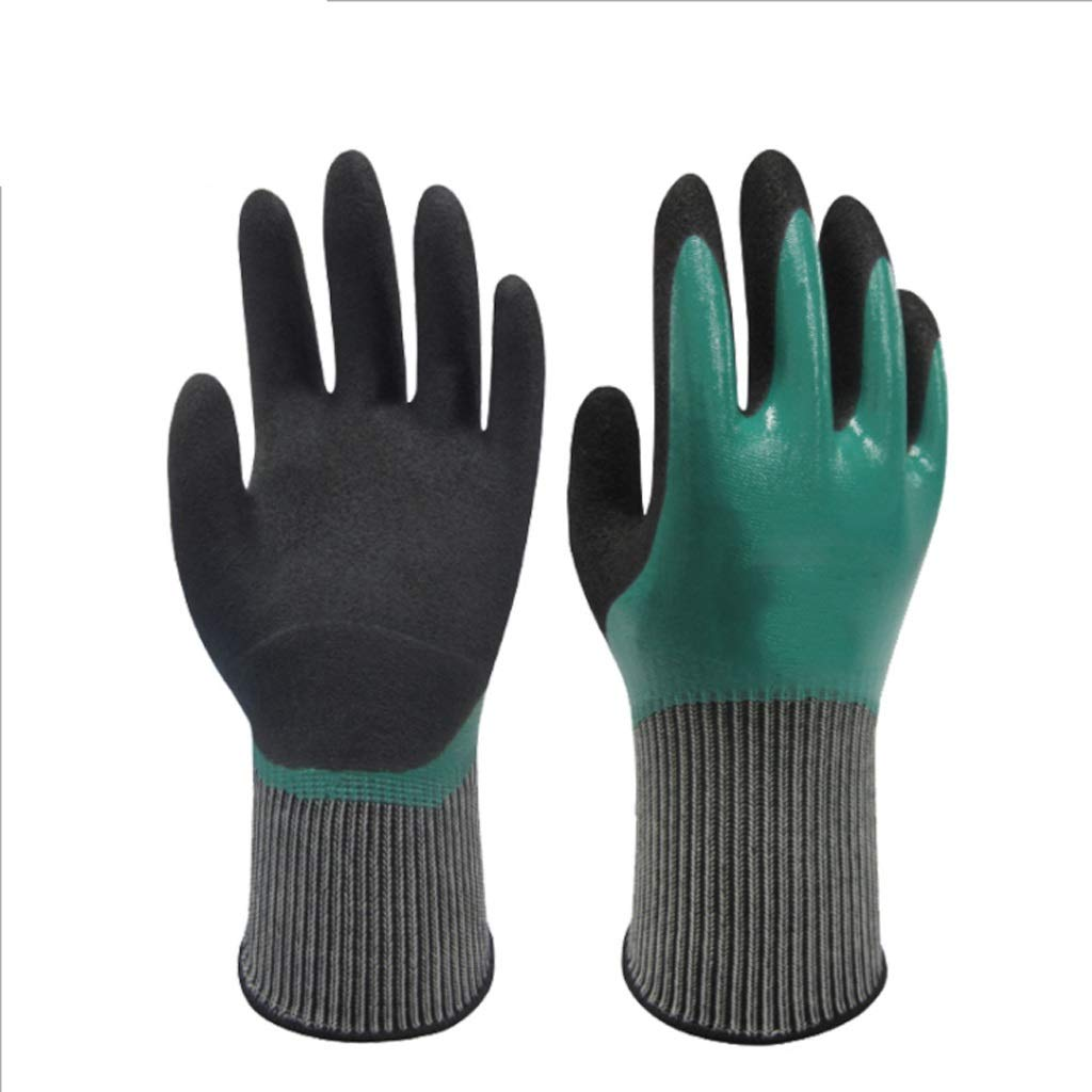 LZRZBH PU Coated Gardening and Work Gloves, Nylon Knit Industrial Gloves, Tough Stretchable Gloves for All Day Comfort (Green 1 Pair)