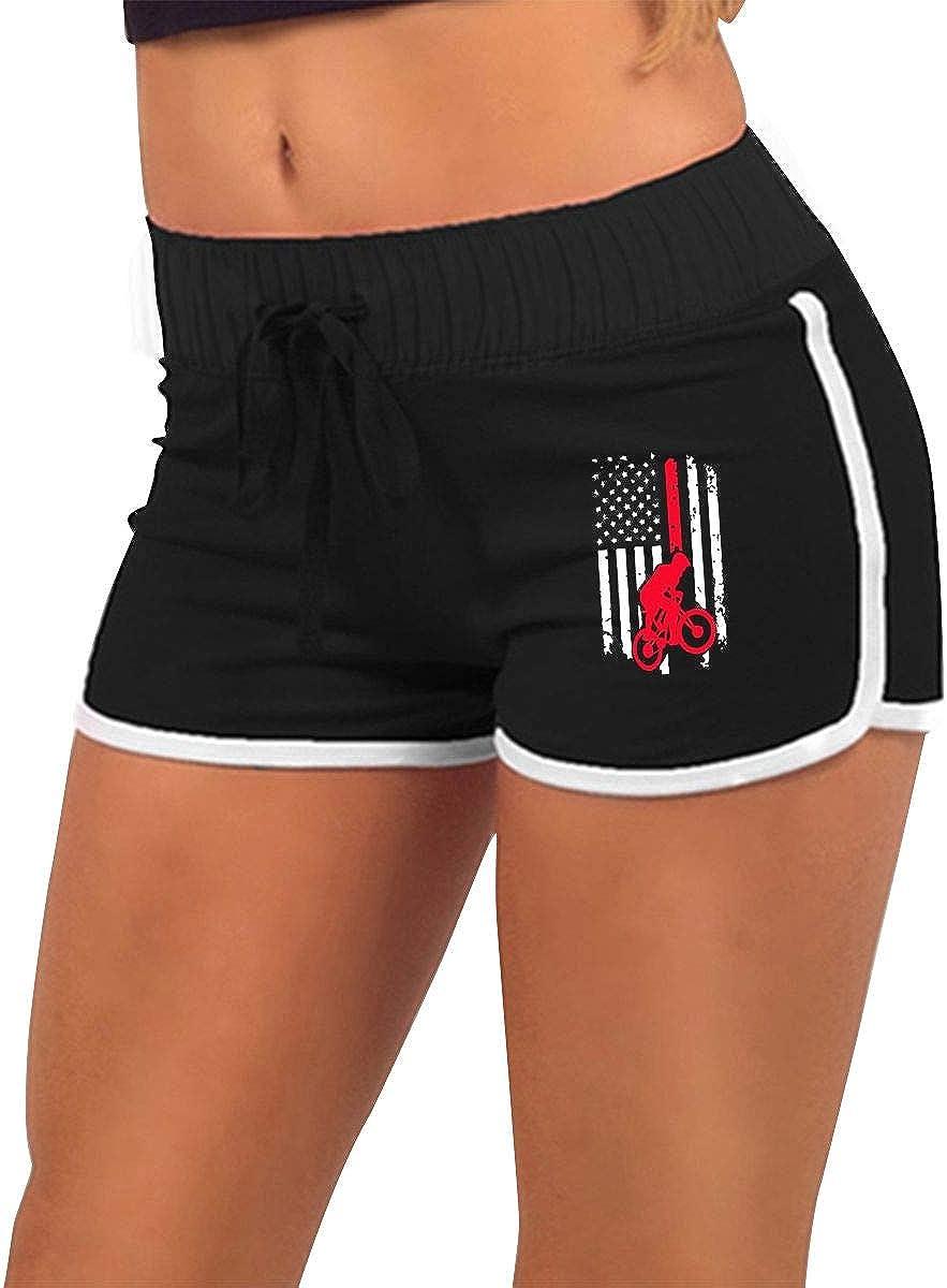 DLOAHJZH-Q BMX Bike American Flag Womens Low-Waist Breathable Sport Workout Running Shorts Tight Short Pants