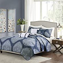 Madison Park Rachel King/Cal King Size Quilt Bedding Set - Navy, Medallion – 6 Piece Bedding Quilt Coverlets – Ultra Soft Microfiber Bed Quilts Quilted Coverlet