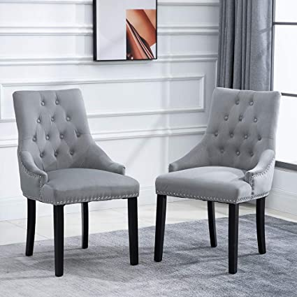Light Grey Velvet Dining Chairs With Knocker Arms Fabric Upholstered Kitchen Armchairs Studded Rings For Restaurant Bedroom Living Room Side Chairs Light Grey 2 Amazon Co Uk Kitchen Home