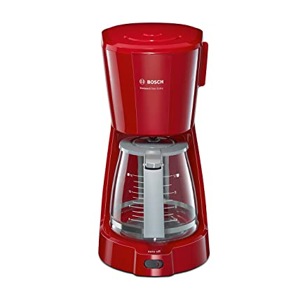 Bosch Compact Class TKA3A034 15-Cup Filter Coffee Machine with Glass Jug (Red)