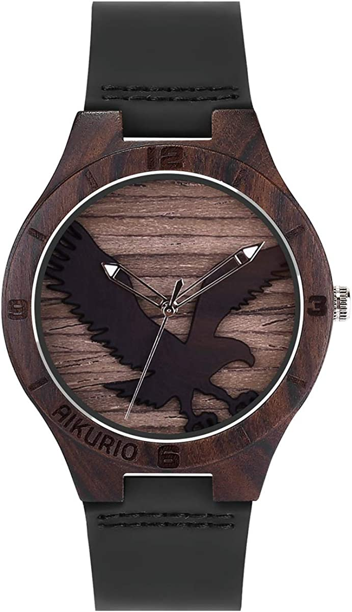 AIKURIO Man's Watches Analog Quartz with Leather Strap Nature Wooden Case and 3D Engraving Pattern AKR011