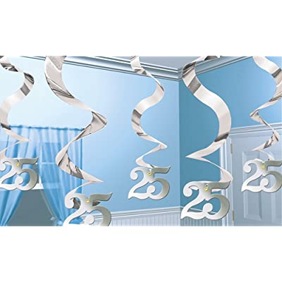 Silver Anniversary Hnaging Swirl Decorations, Pack of 5: Toys & Games
