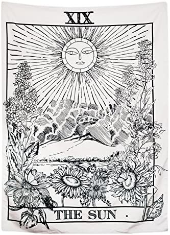 BLEUM CADE Tarot Tapestry The Moon The Star The Sun Tapestry Medieval Europe Divination Tapestry Wall Hanging Tapestries Mysterious Wall Tapestry for Home Decor The Sun, 70×92 Inches