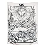 BLEUM CADE Tarot Tapestry The Moon The Star The Sun Tapestry Medieval Europe Divination Tapestry Wall Hanging Tapestries Mysterious Wall Tapestry for Home Decor (51''×59'', The Sun)