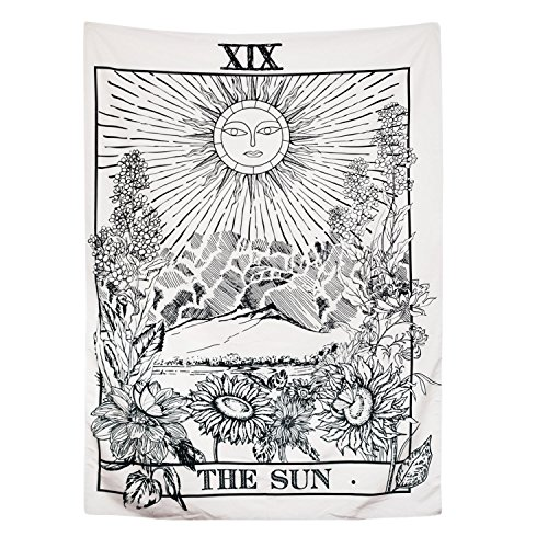 BLEUM CADE Tarot Tapestry The Moon The Star The Sun Tapestry Medieval Europe Divination Tapestry Wall Hanging Tapestries Mysterious Wall Tapestry for Home Decor (51
