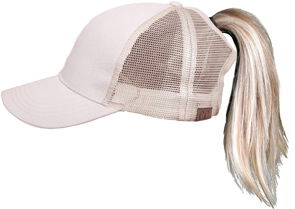 00f8406c72236 Funky Junque H-205-460 Messy Bun High Ponytail Baseball Cap Trucker Hat  Solid Ponycap - Beige  Amazon.ca  Clothing   Accessories