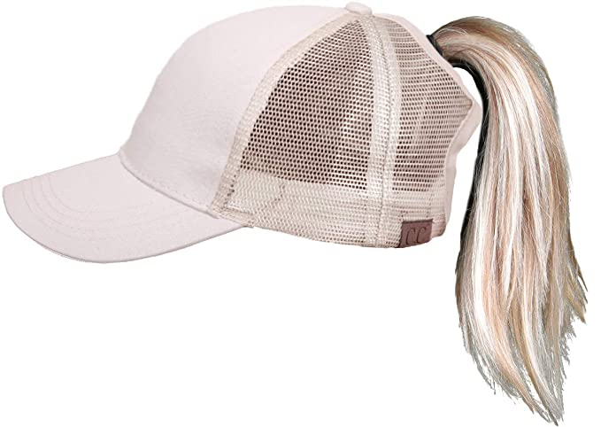 H-205-460 Messy Bun High Ponytail Baseball Cap Trucker Hat Solid Ponycap - 0ea917b0c6f0