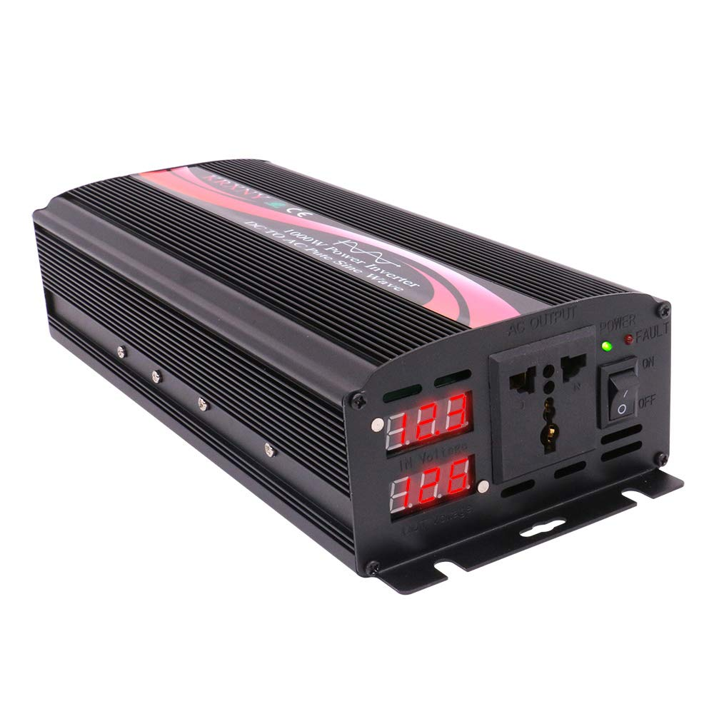 KRXNY 1000W Watt Pure Sine Wave Car Power Inverter Converter 12V DC to 110V  120V AC 60HZ with LED Display