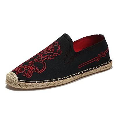 MSKAY Espadrilles für Herren,Chinesischer Stil ohne Verschluss Leinwand Schuhe Komfort Atmungsaktiv Hand Nähen Leinensohle Lässige Schuhe, Khaki, 40