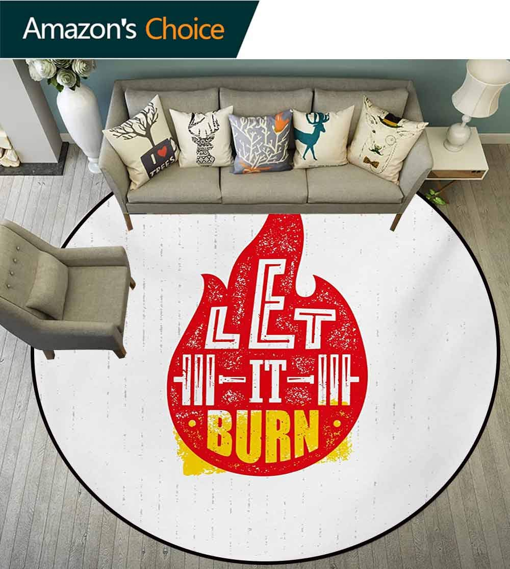 RUGSMAT Fitness Modern Machine Round Bath Mat,Grungy Typography Flame Spark Figure with Let It Burn Text Vintage Style Non-Slip No-Shedding Kitchen Soft Floor Mat,Round-55 Inch Red Marigold White