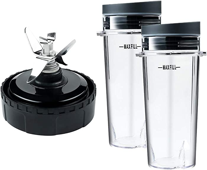Replacement Parts for Nutri Ninja, Blender 6 FIN Blade Assembly and 2 Pack 16 oz Cup Set for BL770 BL780 BL660 Professional Blender