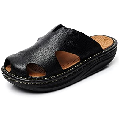 rismart Men's Genuine Leather Platform Mules Slippers Summer Fitness Rocking Shoes Creepers | Slippers