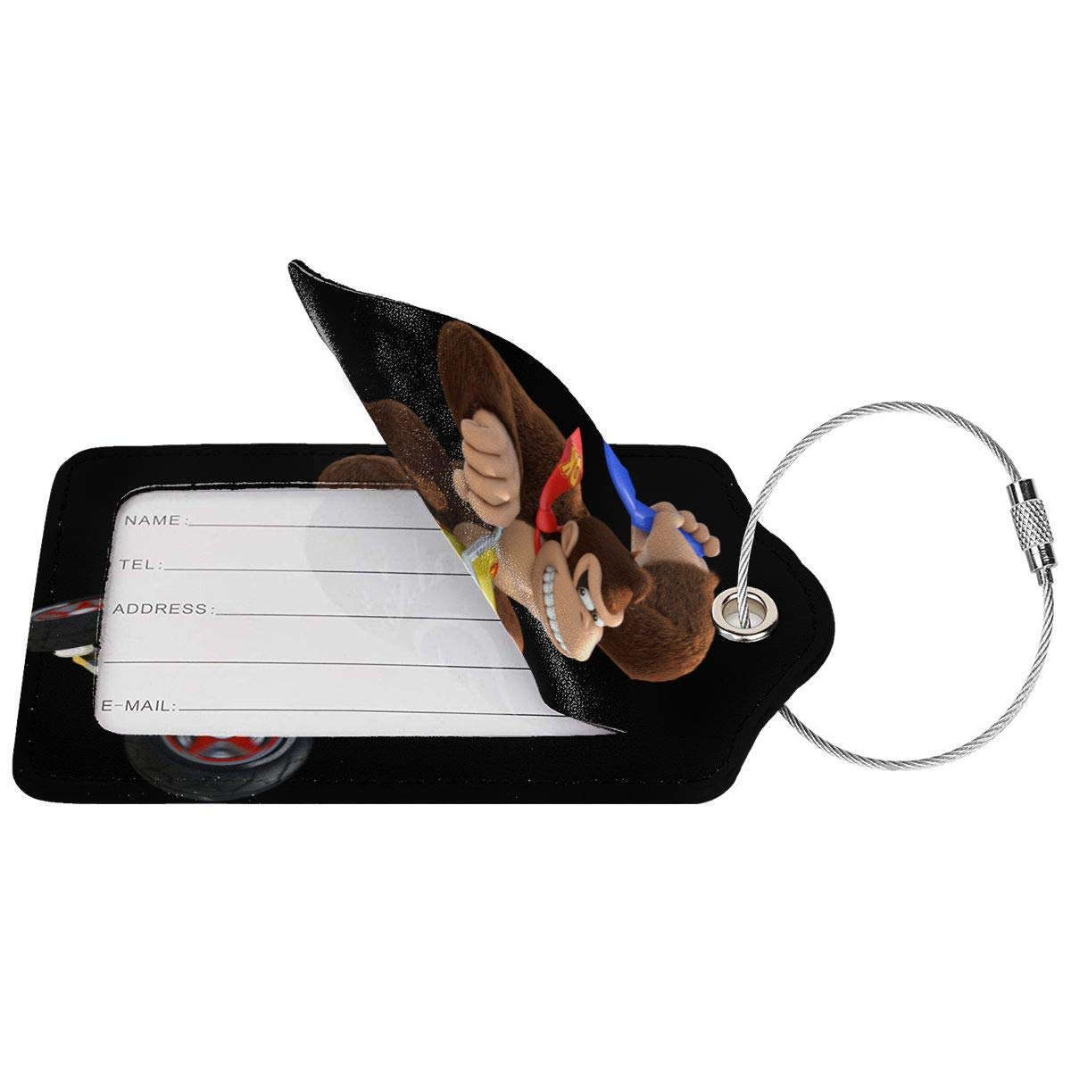 Donkey Kong Travel Luggage Tags With Full Privacy Cover Leather Case And Stainless Steel Loop