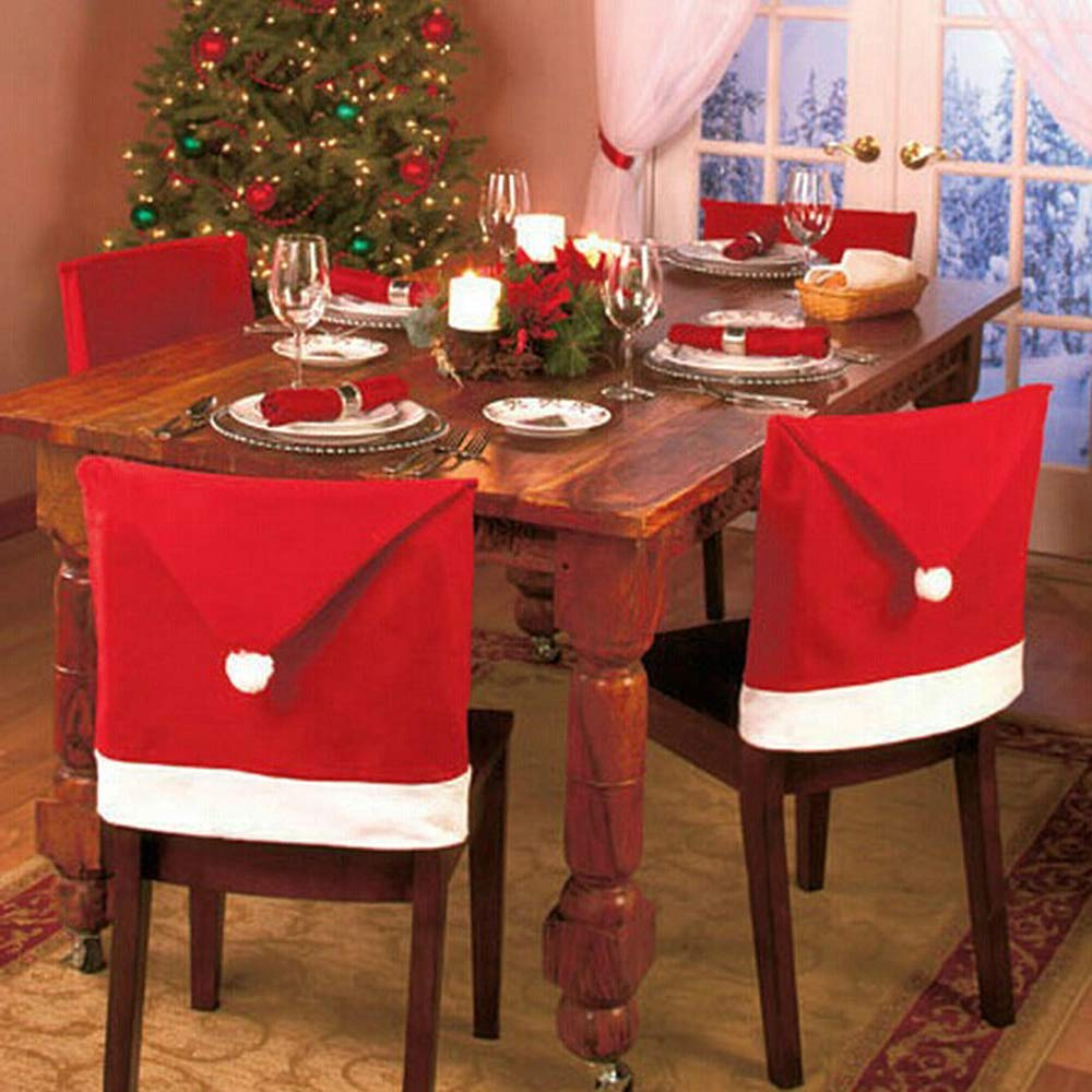 4 PACK Christmas Chair Back Covers Dinner Table Santa Claus Hat Home Decorations Ornaments Gift fannybuy