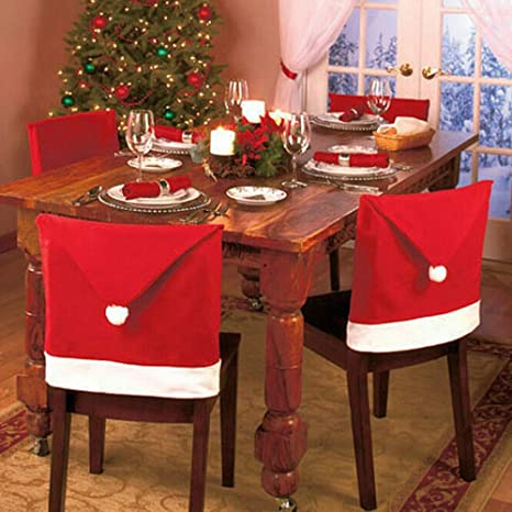 Christmas Chair Back Covers.4 Pack Christmas Chair Back Covers Dinner Table Santa Claus Hat Home Decorations Ornaments Gift