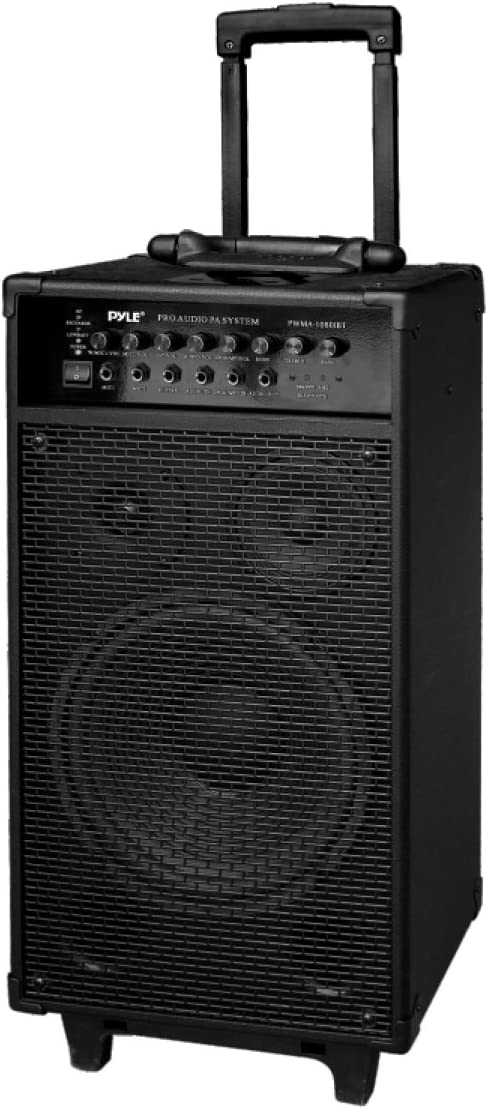 "Pyle Wireless Portable PA Speaker System - 800W Bluetooth Compatible Rechargeable Battery Powered Outdoor Sound Speaker Microphone Set w/ 30-Pin iPod dock, Wheels - 1/4"" to AUX RCA Cable - PWMA1080IBT"