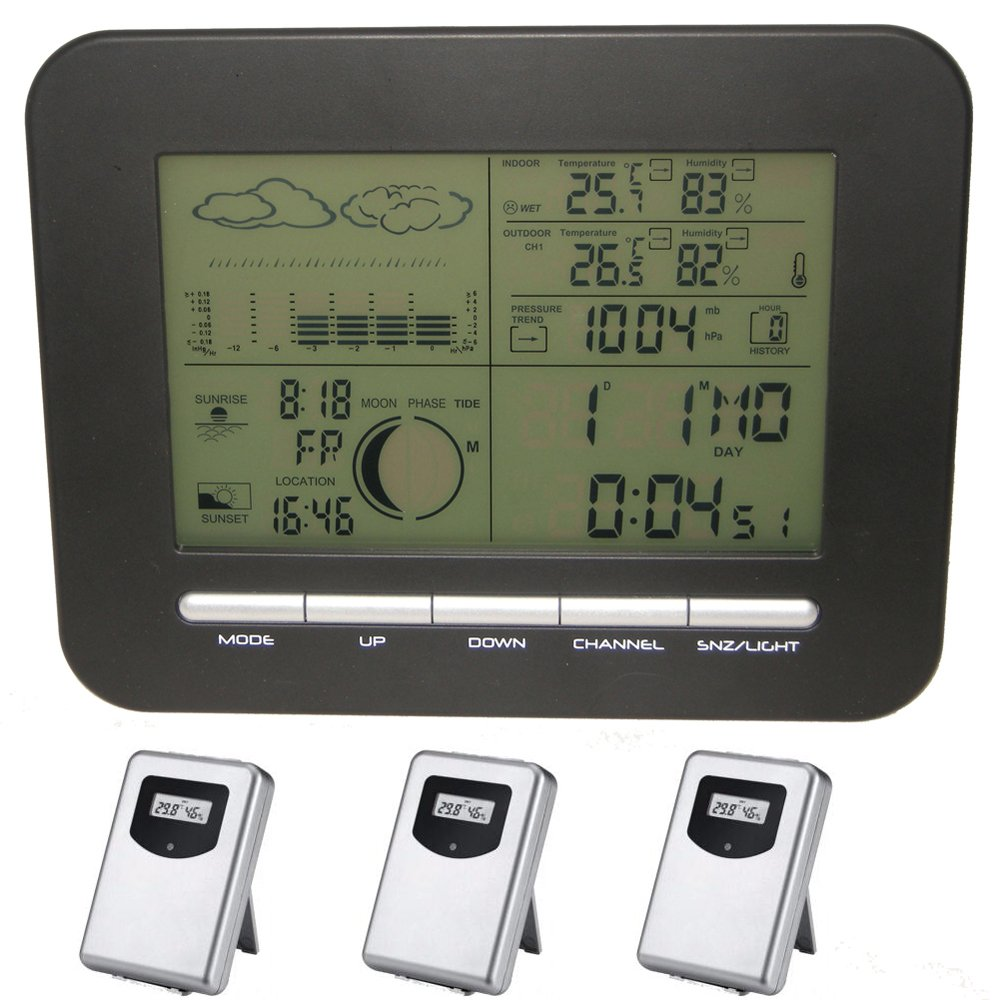 TEPMOMETP Table Desk Digital Dual Alarms Clock Weather Station with Barometer Thermometer Hygrometer + 3 Wireless Outdoor Temperature Humidity Transmitters