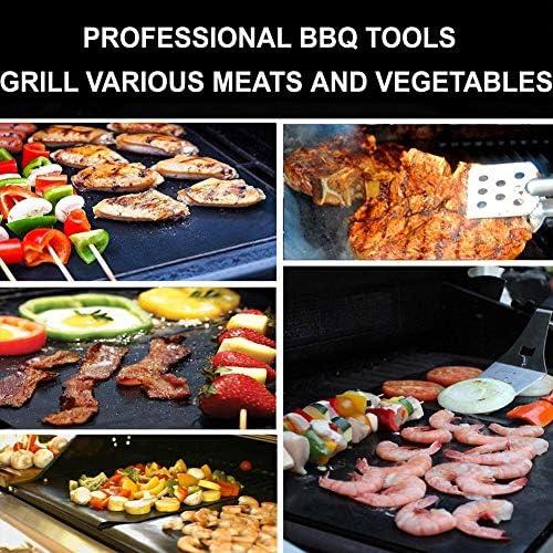 PKYGXZ 2 pcs Non-bâton Barbecue Grill Tapis Tapis de Cuisson Barbecue Outils Téflon Cuisson Grille Feuille Résistance À La Chaleur Facilement Nettoyé Cuisine Outils