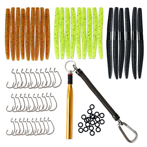 86Pcs Fishing Lures Set Soft Baits Tackle with Worms Fishing Hooks O-Rings and Wacky Rig O-Ring ()