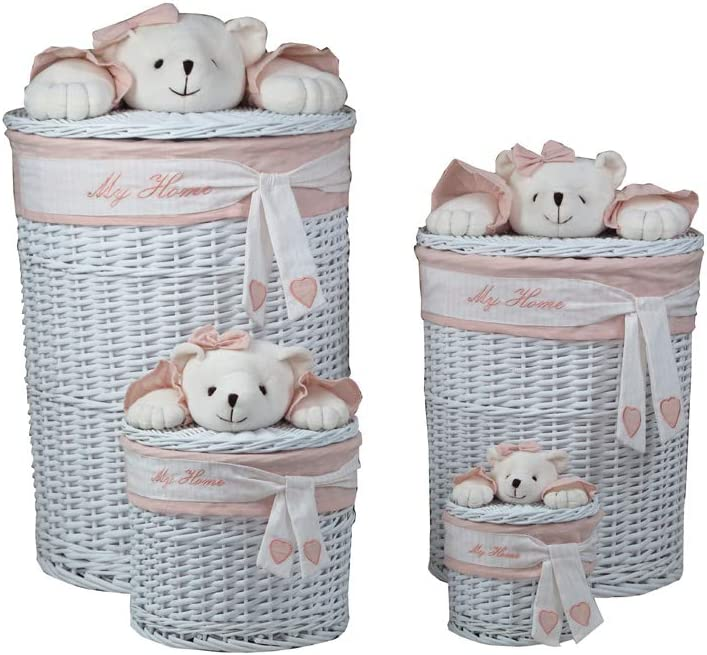 Decozen Set of 4 White Willow Baskets with Pink Fabric Lining Bow Tie Detailing Plush Bear Decoration Laundry Hampers My Home Print Heart Print Enough Space Different Sizes Storage Baskets