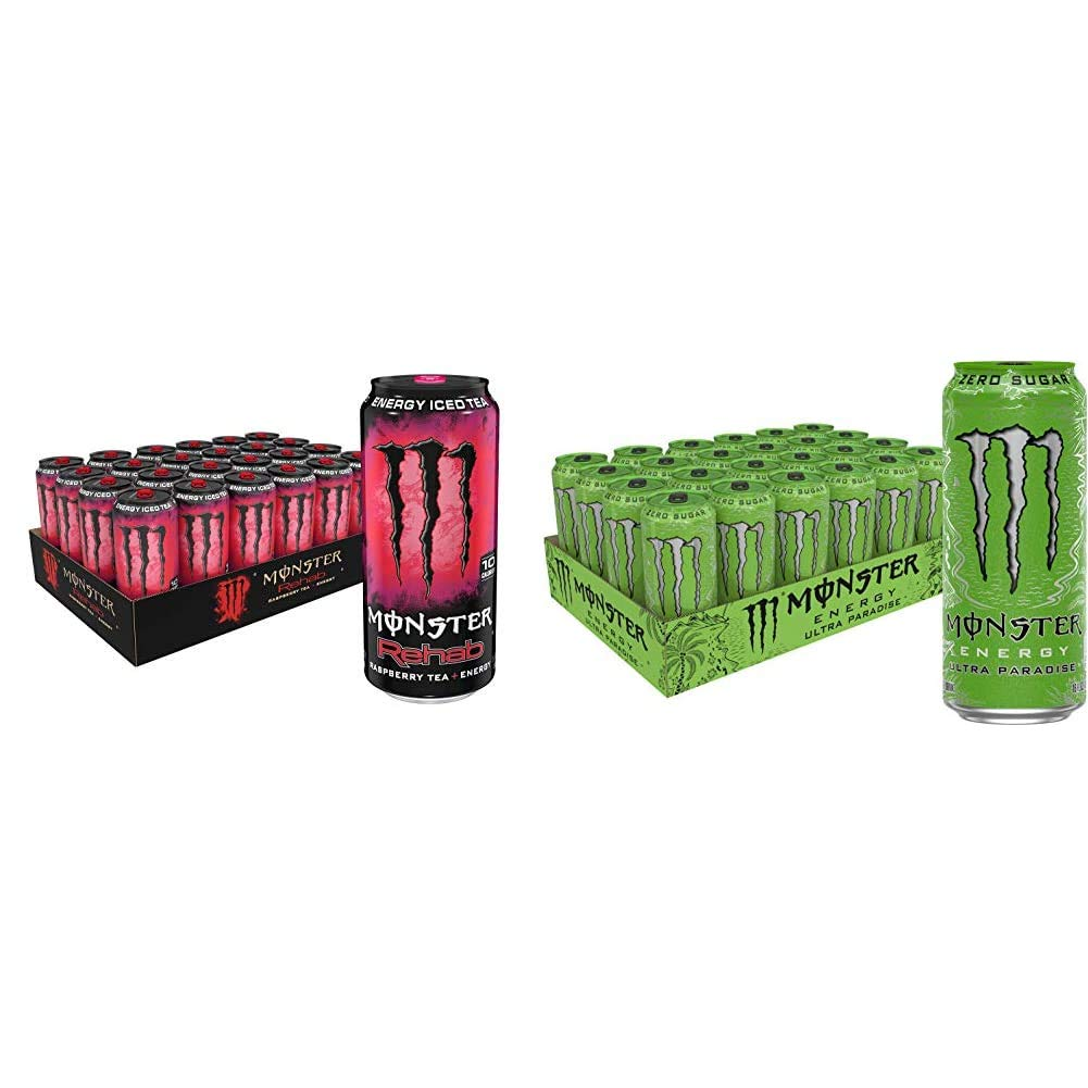 Monster Rehab Energy Drink, Raspberry Tea, 15.5 Ounce (Pack of 24) & Monster Energy Ultra Paradise, 16 fl oz.