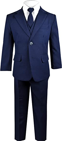 3a7efb7e0fa62f Amazon.com: Black n Bianco Big Boys Solid Suit and Tie (2, A Navy ...