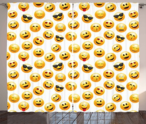Ambesonne Emoji Curtains, Smiley Face Character Illustration Feeling Happy Surprised Cool and in Love, Living Room Bedroom Window Drapes 2 Panel Set, 108 W X 63 L Inches, Yellow Red Black