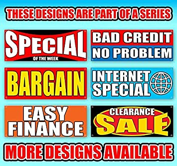 Many Sizes Available Used Car Sale 13 oz Heavy Duty Vinyl Banner Sign with Metal Grommets Advertising Flag, Store New