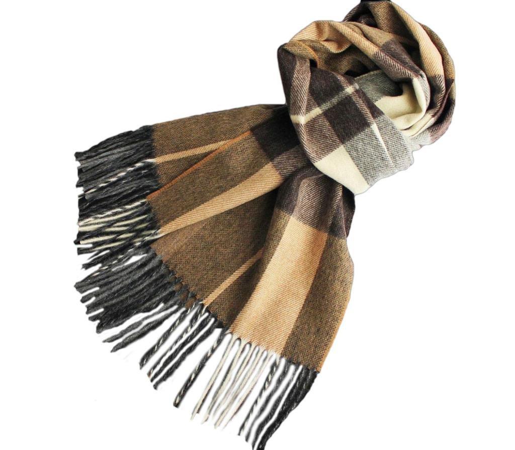 Stanley Lewis Men's Highlander Woollen Check Scarf Brown by Stanley Lewis