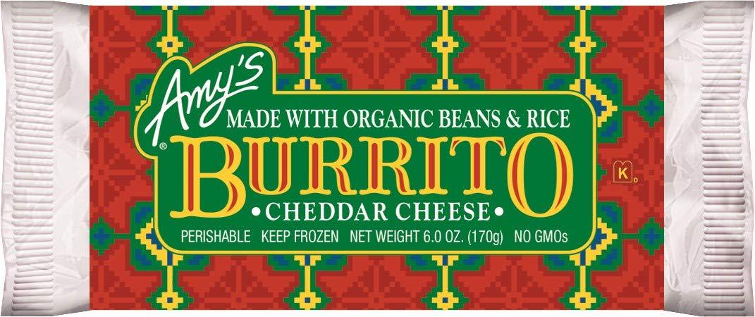 Amy's Frozen Bean & Cheddar Cheese Burrito, Non GMO, 6-Ounce