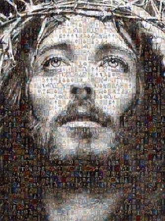 Amazon.com: Jesus Christ Mosaic Collage Jesus & Virgin Mary Photos ...