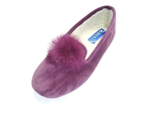 LA ZAPATILLERIA - Zapatillas de Andar por casa Pompon: Amazon.es: Zapatos y complementos