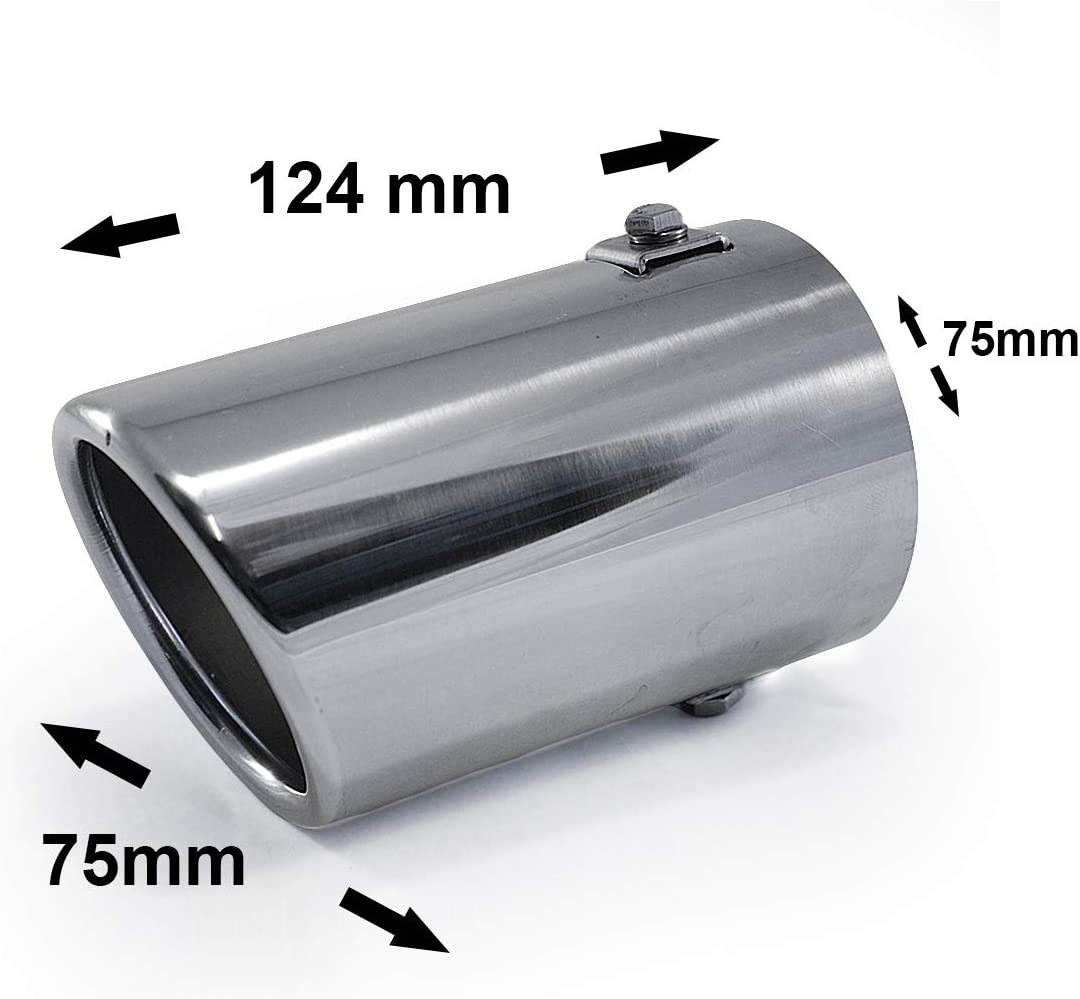 Universal 2077 Car Exhaust Tip Trim End Pipe Tail Sport Muffler Stainless Steel Chrome
