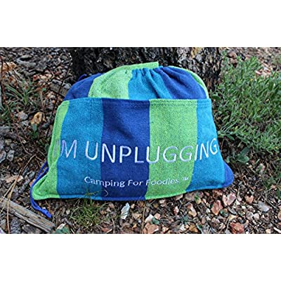 Camping For Foodies Hammock with Attached Carrying and Accessory Bag for Easy Access to Drinks, Magazines, Phones etc. Displaying Fun, I'm Unplugging, Message.: Sports & Outdoors