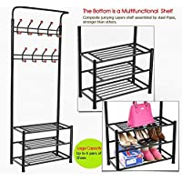 Topeakmart Metal Entryway Storage Bench with Coat Clothes Shoes Hat Umbrella Bag Rack