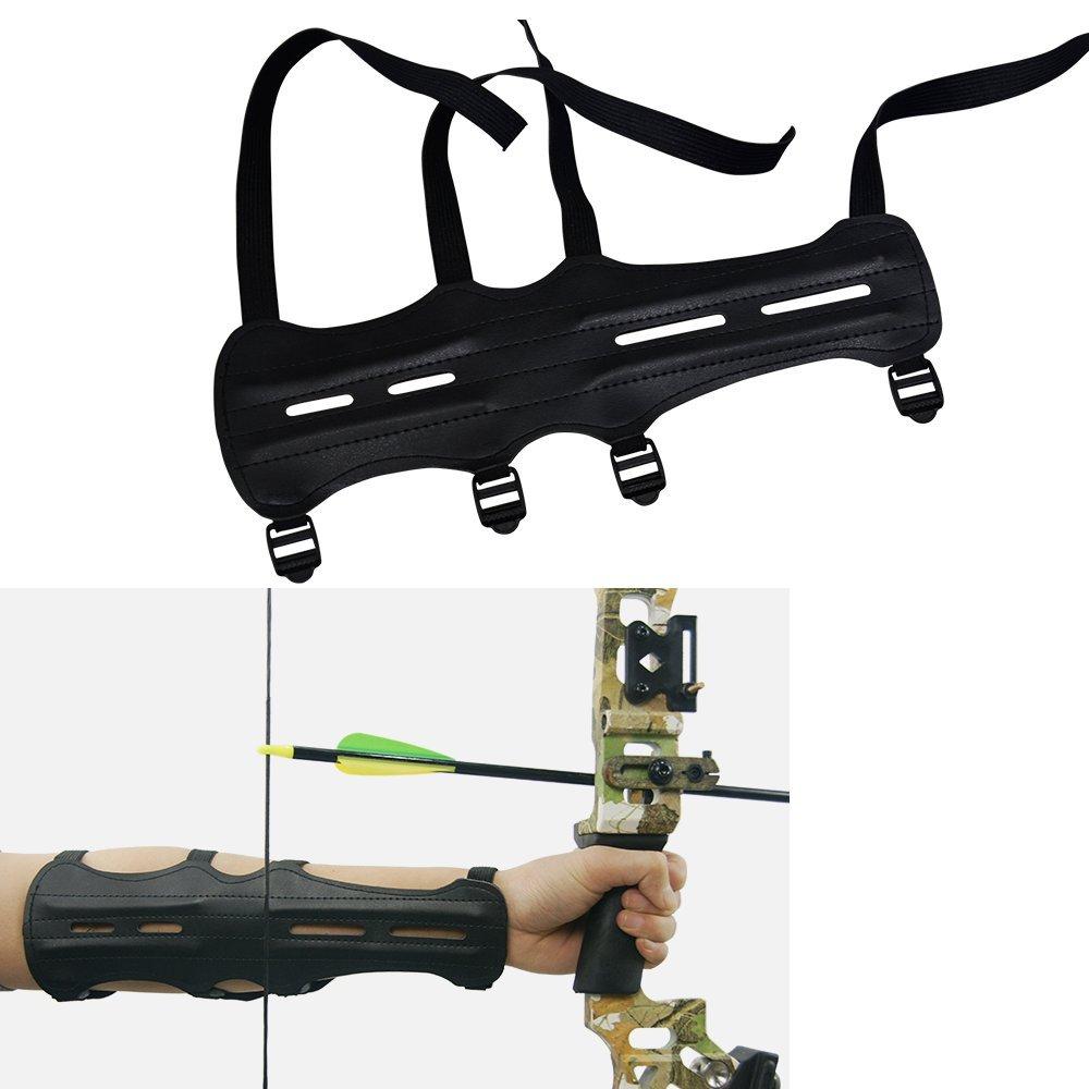 Archery PU Brazo de Cuero Guardia El/ástica Ajustable de 4 Correas del Equipo de Protecci/ón del Brazo