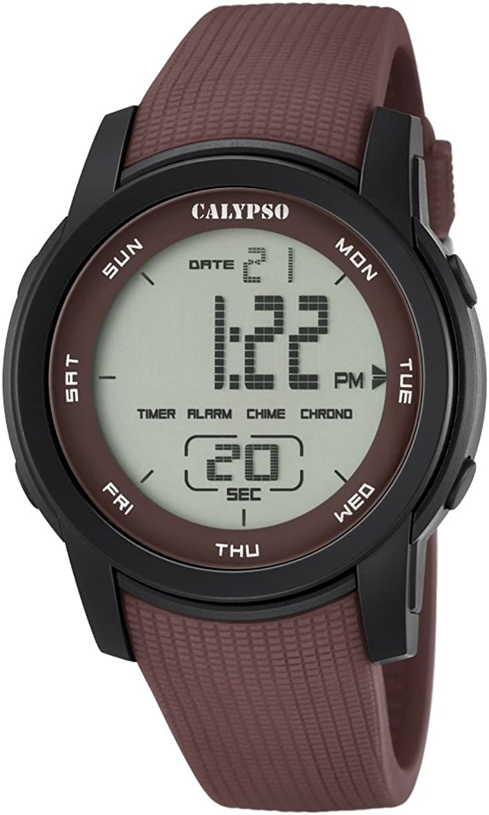 Calypso–Reloj Digital Unisex con LCD Pantalla Digital Dial y Correa de plástico de Color marrón k5698/5