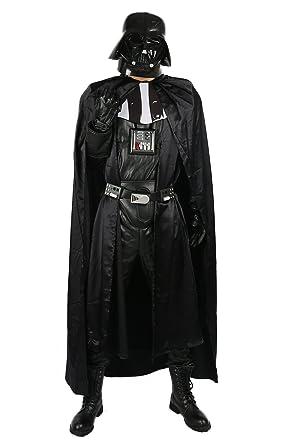 Xcostume ダースベイダーコスチューム改良版 ダースベイダー風コスプレ衣装 6点セット オールブラック
