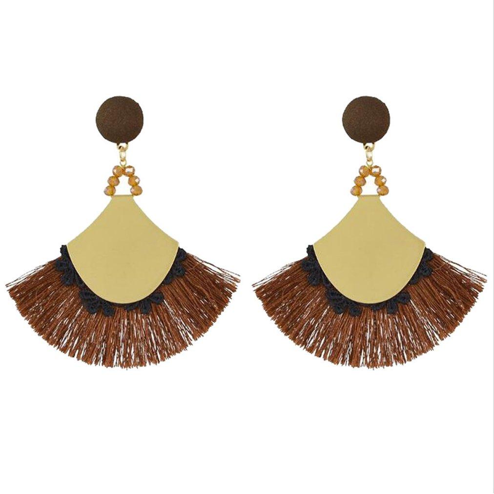 Sweet Stud Hook Earrings Bohemian Fringe Crystal Fabric Thread for Girls Women Brown