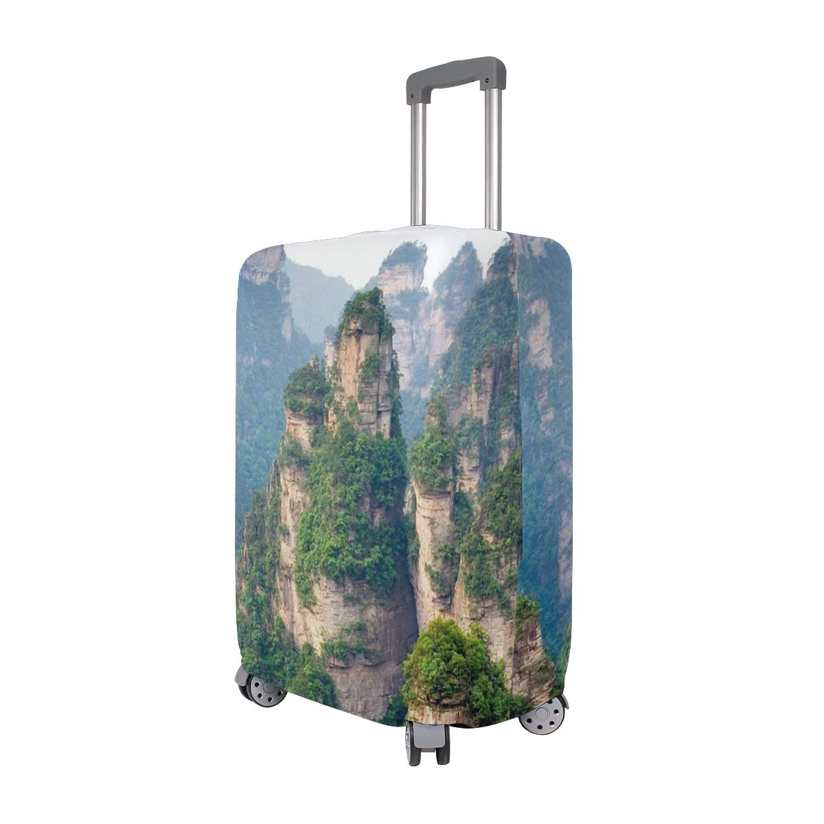 Mountain Cliff Top Forest Summer Landscape Theme suitcase cover elastic suitcase cover zipper luggage case removable cleaning suitable for 29-32 trunk cover